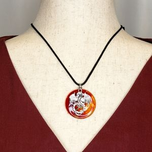 Fire Breathing Dragon Pendant Necklace